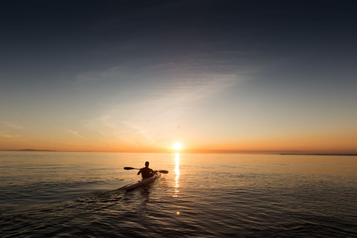 Man in kayak on the ocean