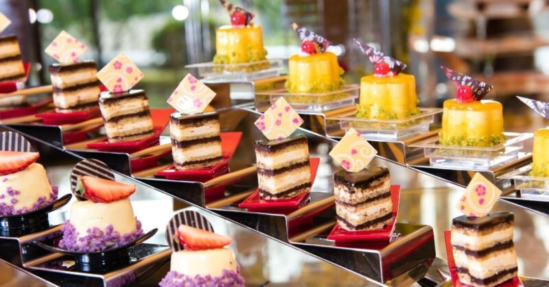 display of gourmet desserts