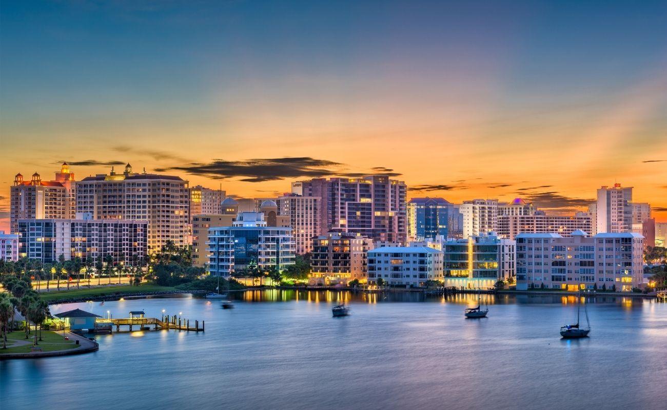 overview of sunset setting over Sarasota FL