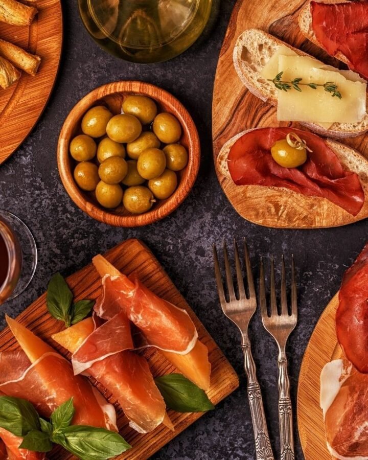 mix of italian food on a table