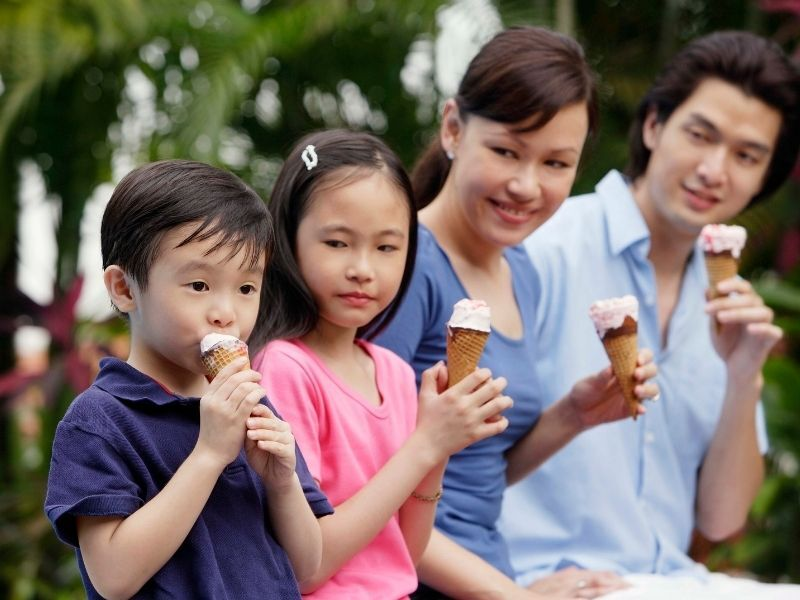 family of four eating ice cream cones