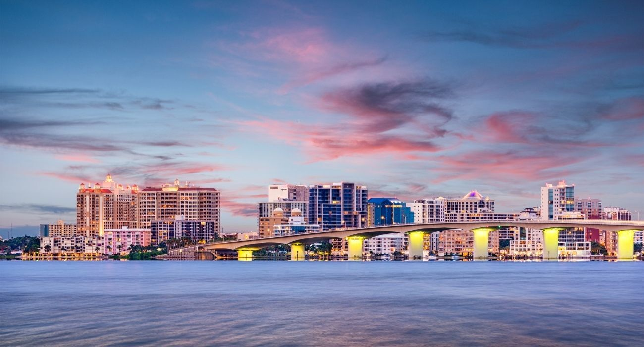 Aerial view of Sarasota Florida and sunset over city