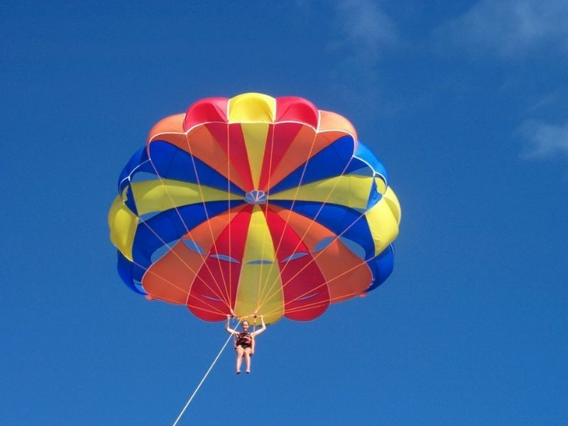person up in air parasailing